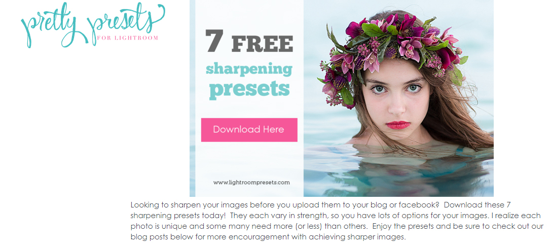 pretty presets free sharpening for lightroom