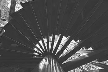 Spiral stairs going down to cliff walk