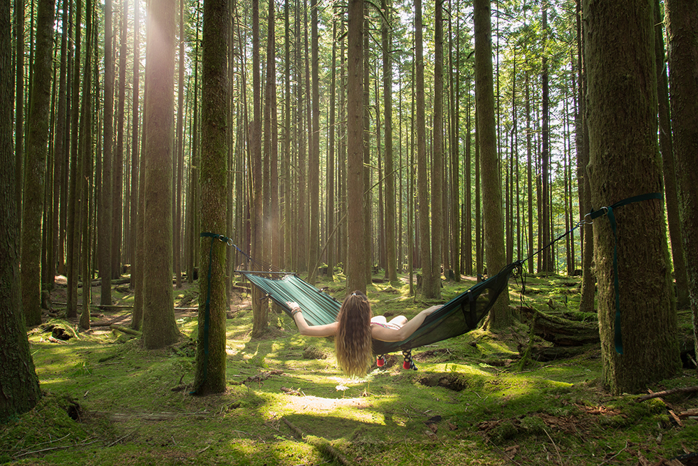 A girl in a Lawson hammock hanging in a lush green forest